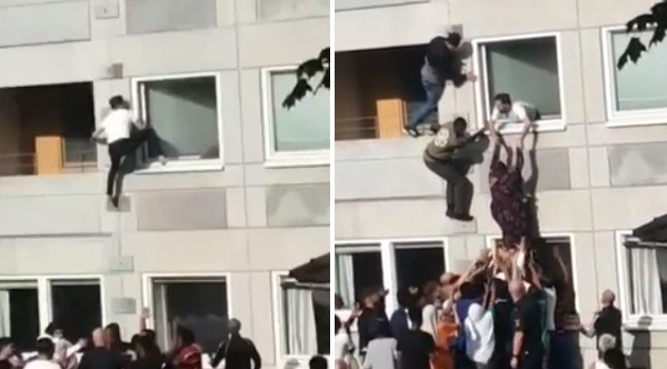 Strangers Unite To Save People From A Building On Fire In Sweden